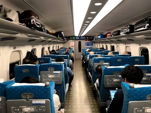 How looks inside of bullet train, Shinkansen