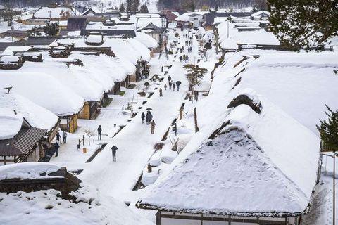 One day scenic tour from Aizu-wakamatsu to Ouchi-juku (winter version)