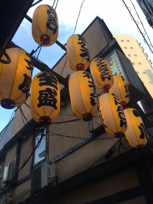 Lanterns at a small alley of Sangen-jaya.