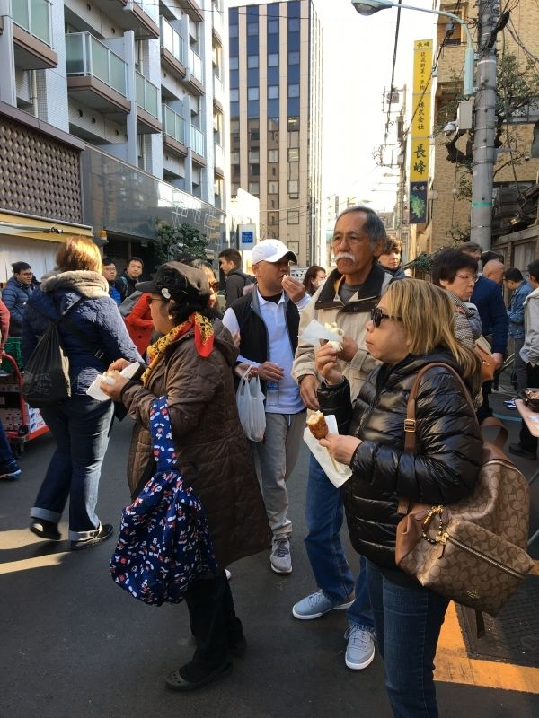You have a chance to try various foods at Tsukiji Fish Market!