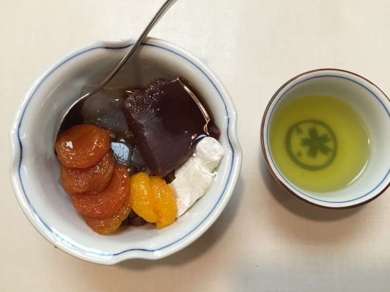 Japanese sweets called Annmitsu with Japanese tea at Ueno area