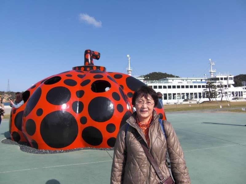 Red Pumpkin  by Yayoi Kusama @ Miyanoura port