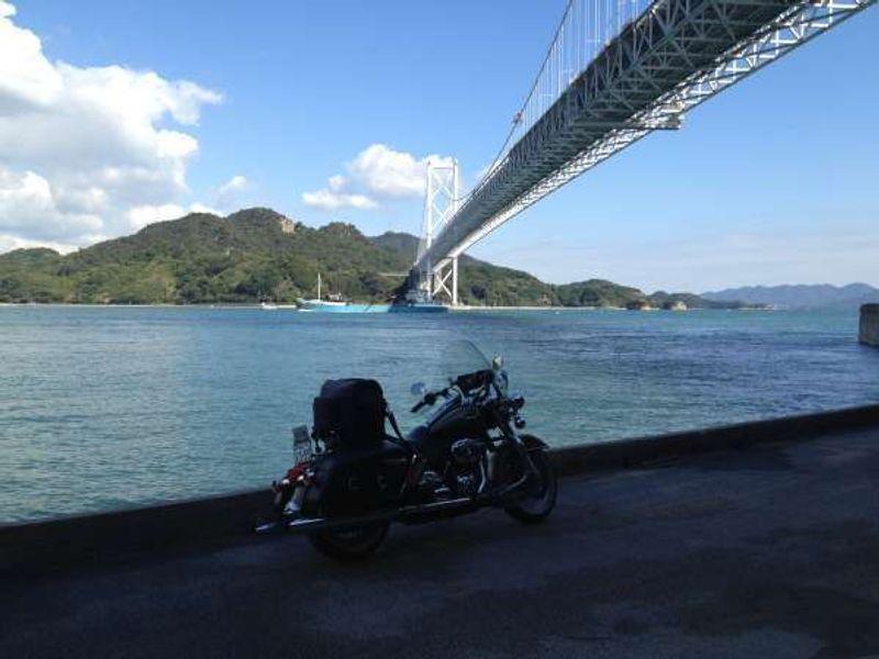 Shimanami highway bridge over Seto inland sea.