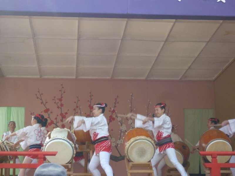 Frauen in traditionellen Festjacken und -hosen schlagen japanische Trommeln auf dem Fest.