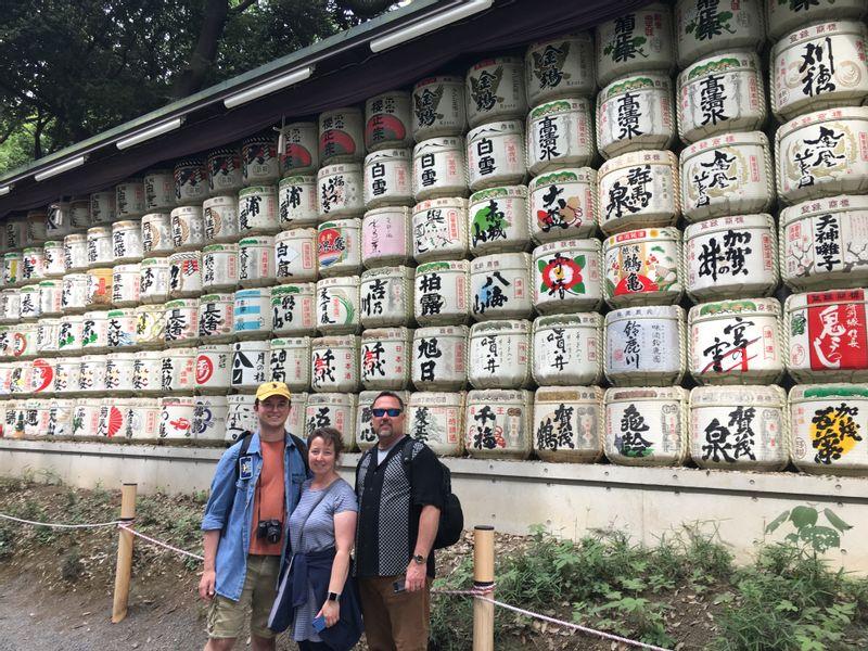 With the barrels of Sake, rice wine at Meiji shrine