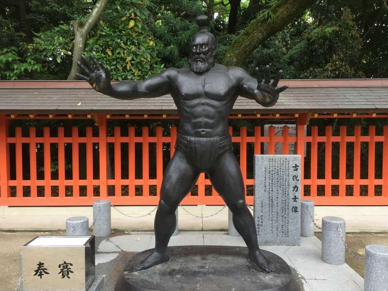 The statue of ancient SUMO wrestler in the precincts of Sumiyoshi Shrine. Sumiyoshi Shrine is known as the god of culture,fortune,prophecy, fishery,and SUMO.