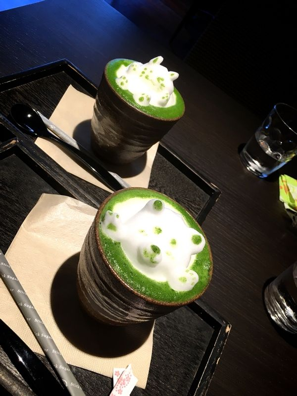 Kyoto 3D matcha latte! You can draw bears face by your own!!