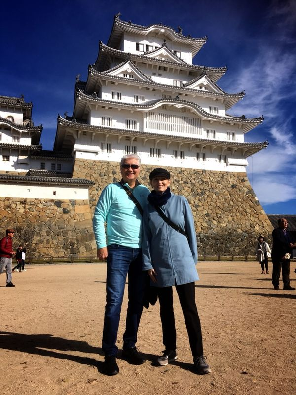 Well preserved Himeji Castle with Yvonne and Richard from USA