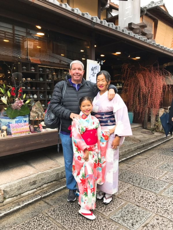 Kyoto Kimono experience! Jack ,Kristie and their little lady Emma from Hawaii.