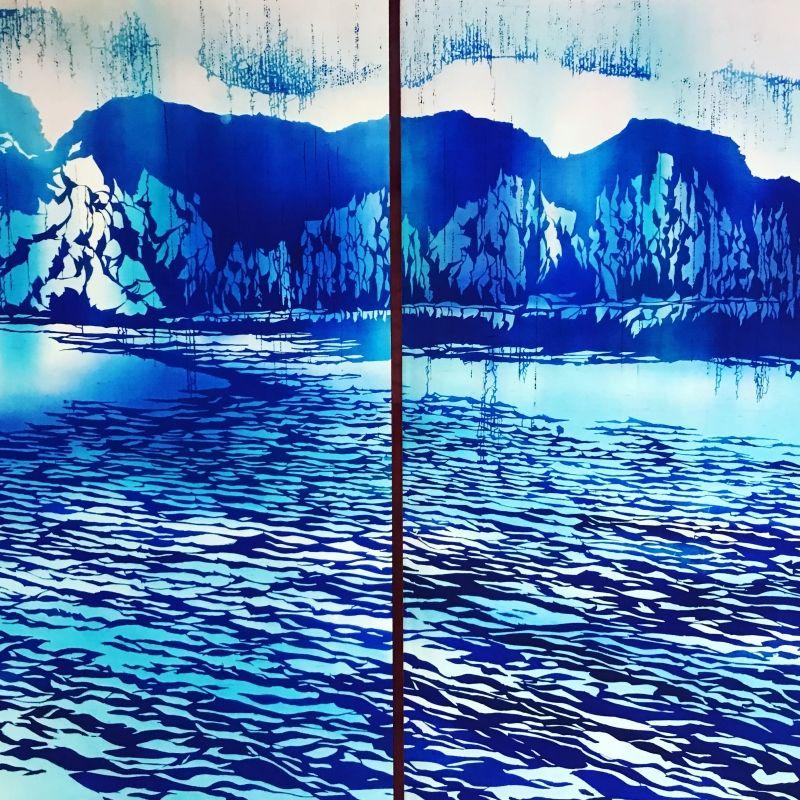 Modern artist fusuma door painting