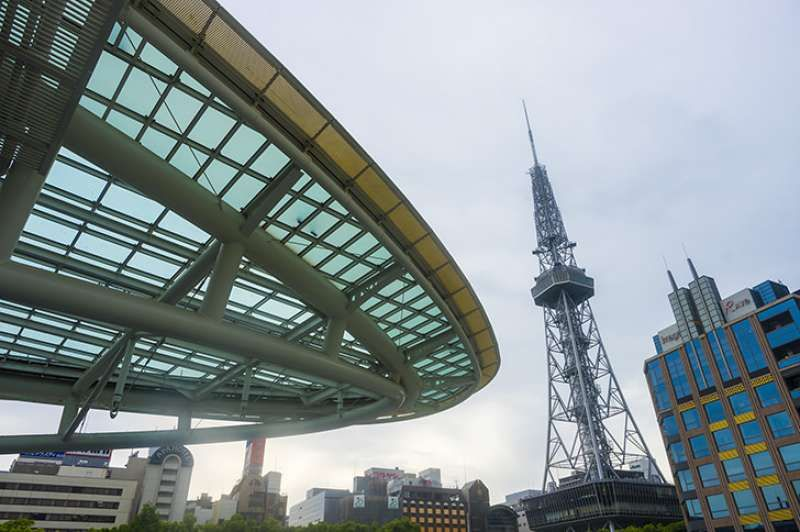 Oasis 21 with glass top and TV tower, both are Nagoya's landmarks.
