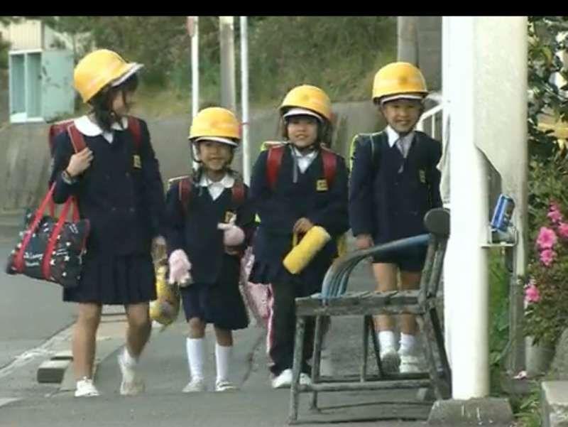 School kids at an active volcano, Mt.Sakurajima