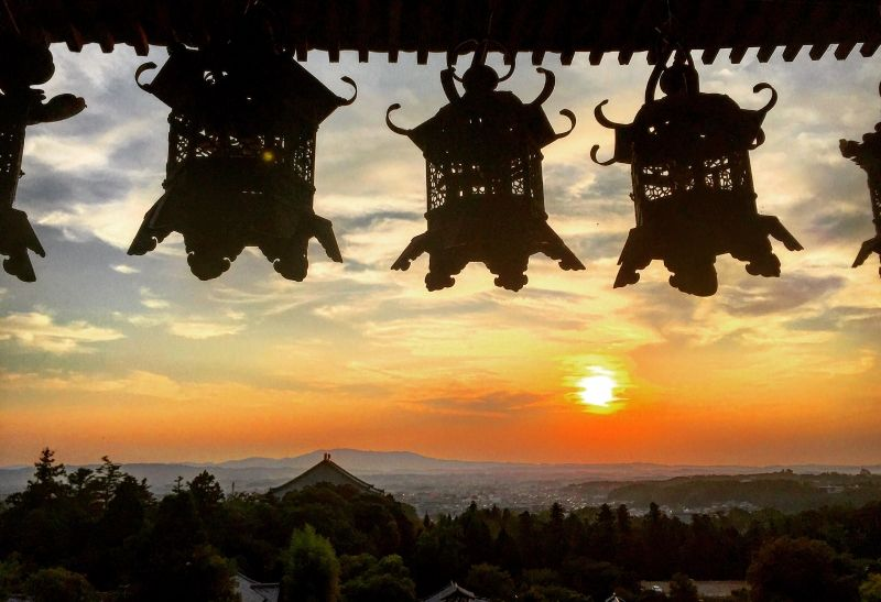Sunset view from Nigatsudo in Nara