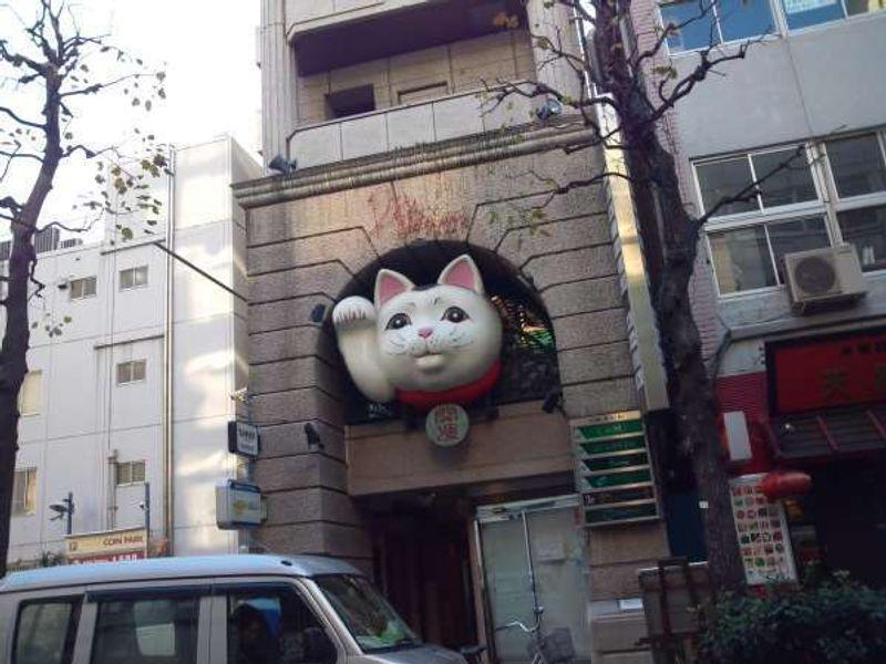 He encontrado el gato de suerte, Manekineko en la calle de Kannnai, Yokohama