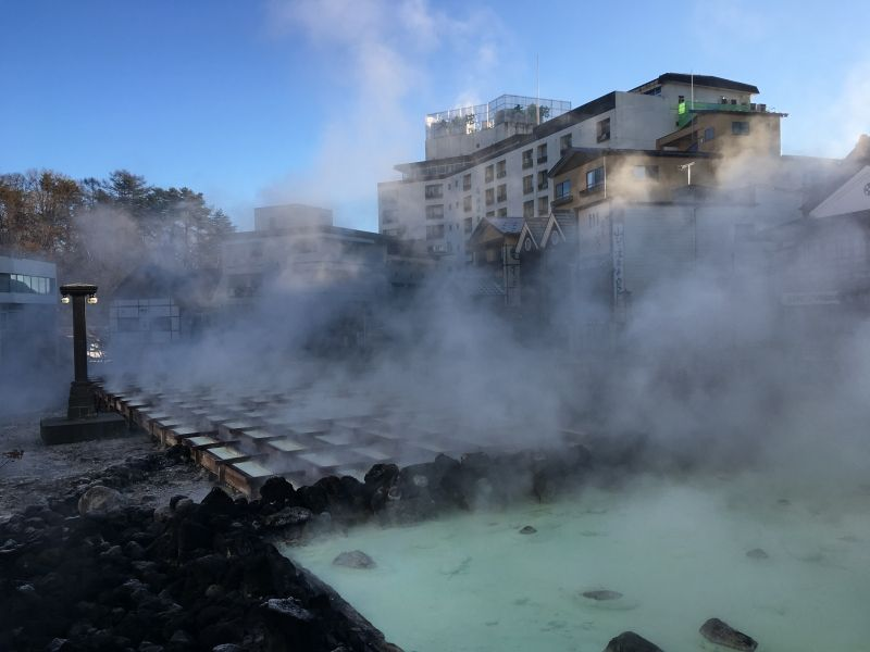 Kusatsu hot spring which is the famous hot spring in Japan.  Yubatake where ONSEN spring up.