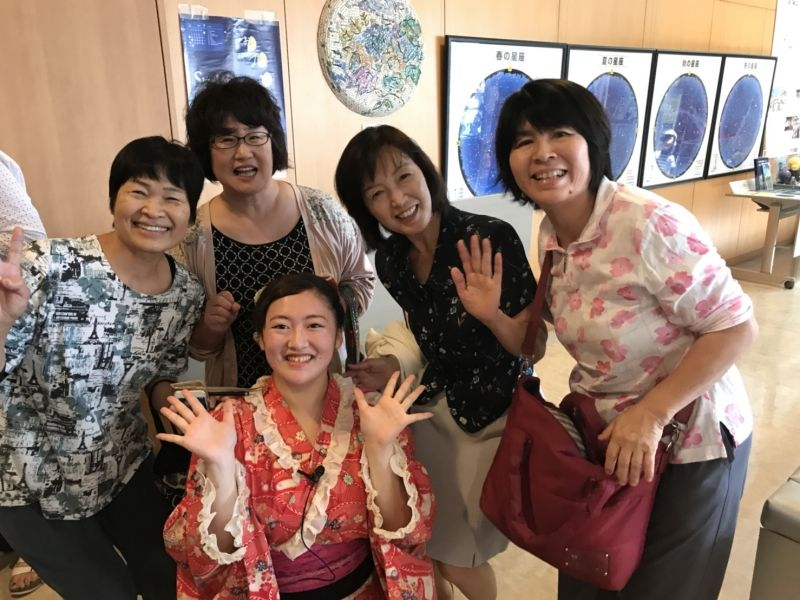 with rakugo, short story teller(front center girl with red colored kimono) and my friends