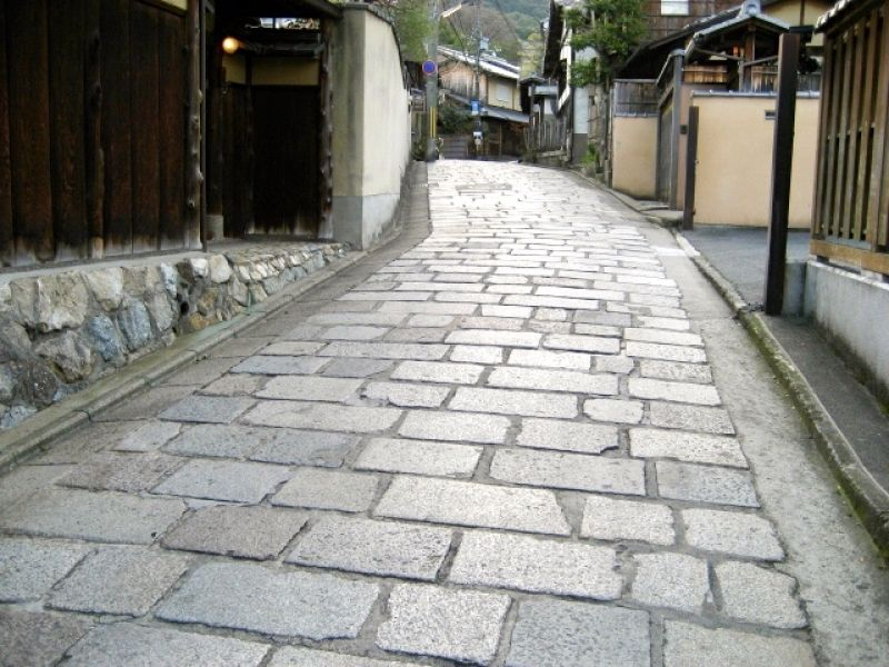 Stone pavement at Gion District.