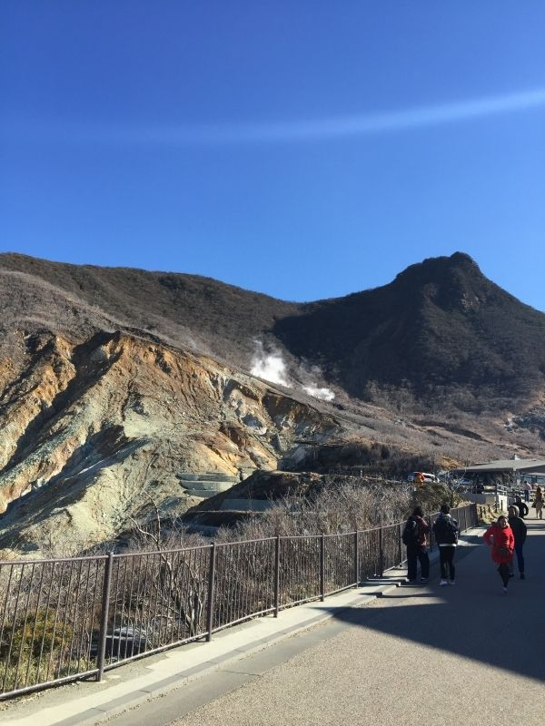 The Hakone volcanic explosion site where the volcanic steam comes out