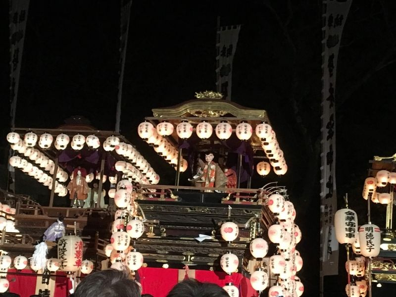 Gifu spring night festival in Inaba shrine, Gifu city
