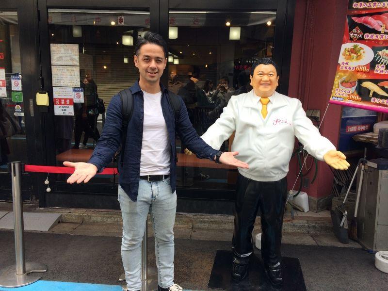 "At Tsukiji outer market famous sushi shop ""Sushizanmai"". Well known with the tuna cutting show."