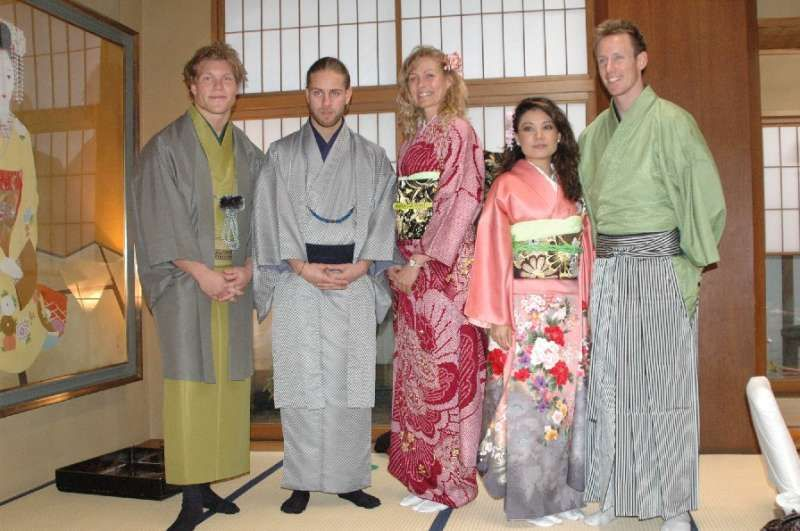 Wearing Japanese kimono