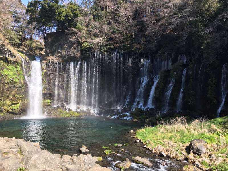 Shiraito waterfalls in Fujinomiya one of the components of world heritage sites