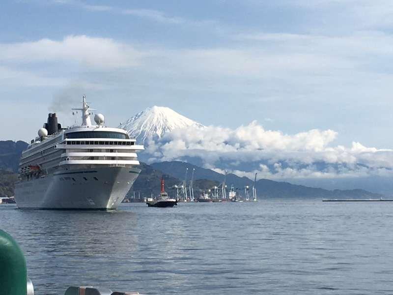 View of Mt. Fuji & cruise ship at Shimizu port