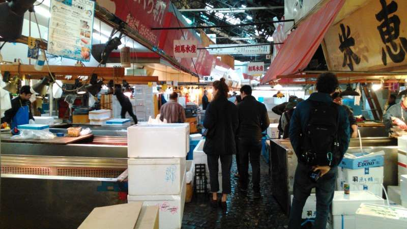 Tukiji  fish market: one of the best known attractive spot in Tokyo. You must be there as early as 9 o'clock to see whole-seller shops. And you must be there to see auctions as early as 4 o'clock(!) there.