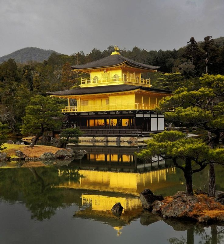 Kinkakuji temple in Kyoto. The combination of beautiful Japanese garden and Golden temple.