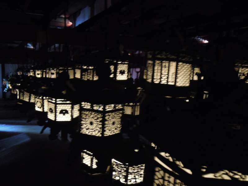Lantern-lit room in one of the buildings in Kasuga Grand Shrine