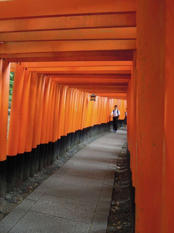 Fushimi Inari Grand Shrine     Vermilion-colored thousand torii gates.