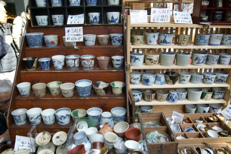 Soba soup cups at antique mall in Tokyo