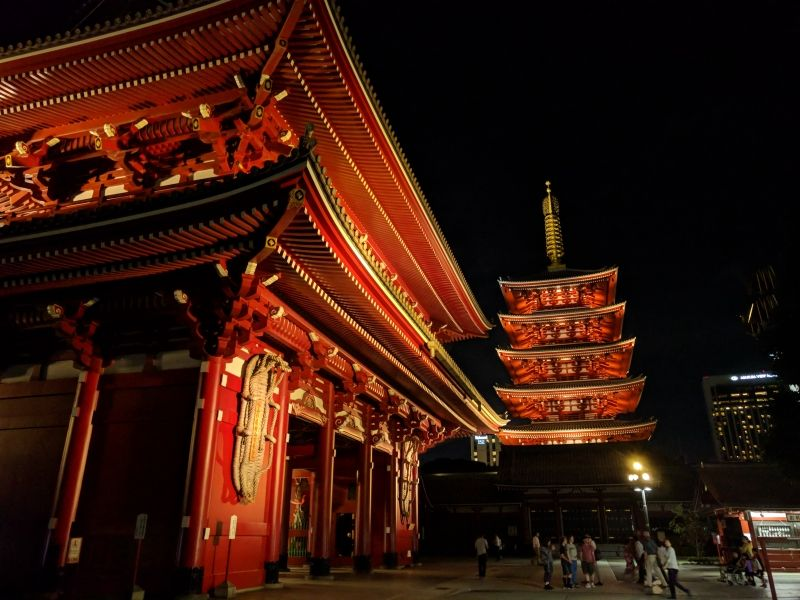 Night view of Sensoji temple in Asakusa
