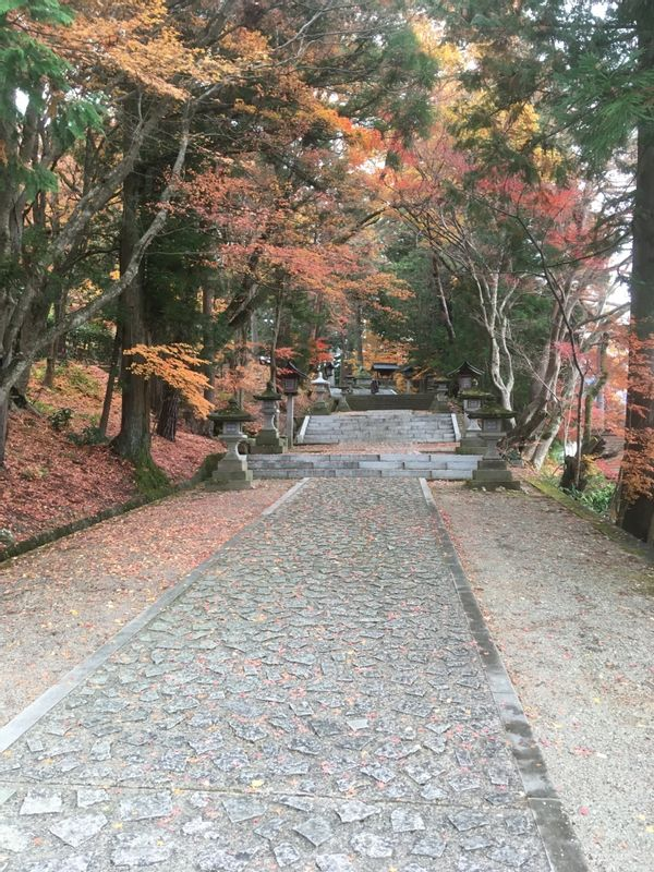 The path leading up to an ancient shrine.