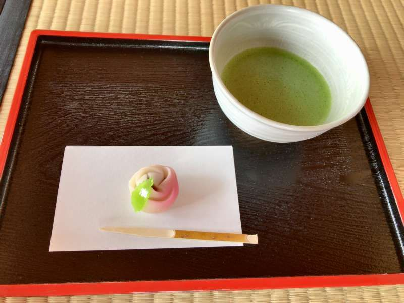 Matcha and Japanese sweets served in a tea house at Hamarikyu Garden in Tokyo
