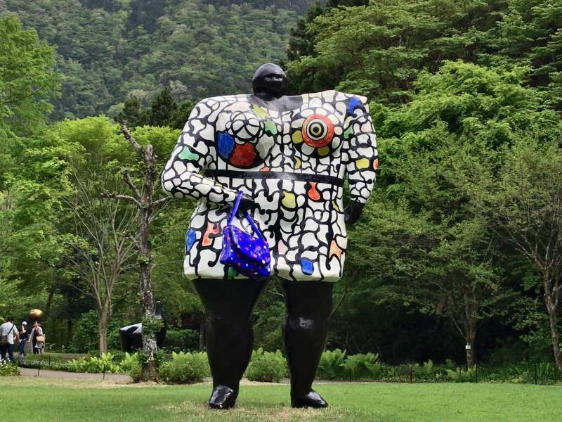 A glamorous statue, named Miss Black Power, placed in the Hakone Open-Air Museum in Hakone