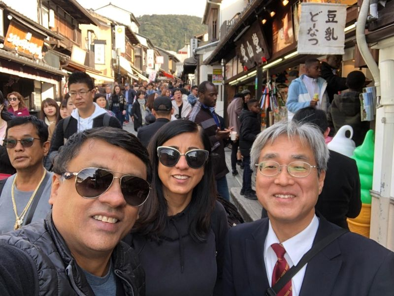I was with Shreekant San and Bhash San from the US. The path to Kiyomizu temple was very crowded like Kyoto station at rush hour but it was enjoyable.