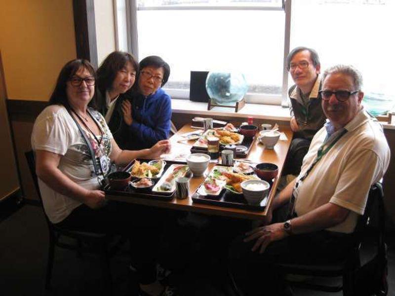 Canadian cruise tourists enjoying seafood lunch in Shimizu