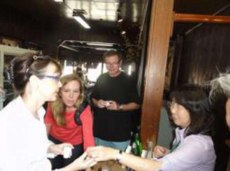 American family tasting sake in the brewary in Fujinomiya City