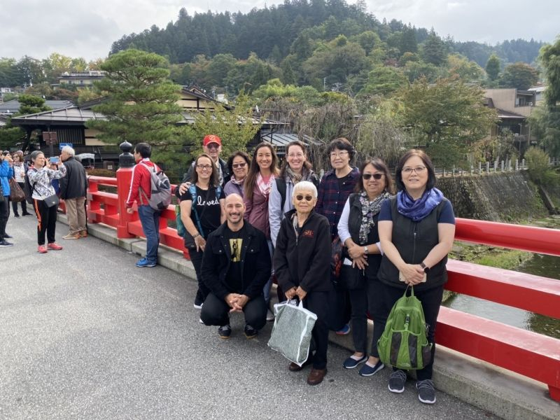 At Nakabashi bridge which is landmark in Takayama