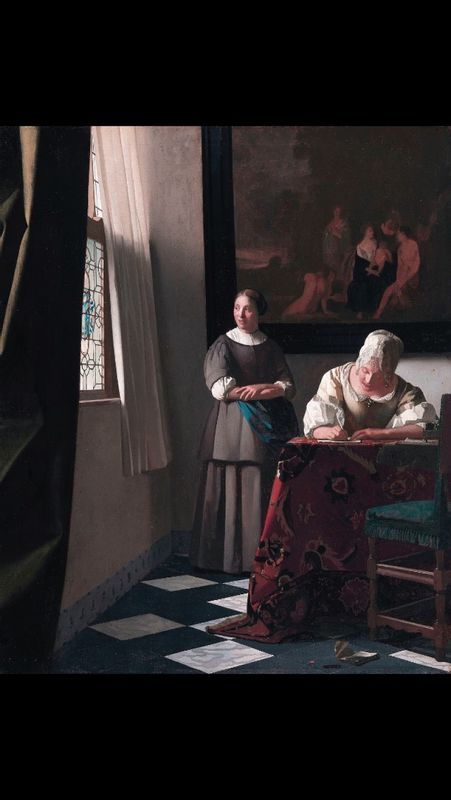 Woman writing a letter with her Maid by Vermeer フェルメール 手紙を書く女と召使 ナショナル・ギャラリー