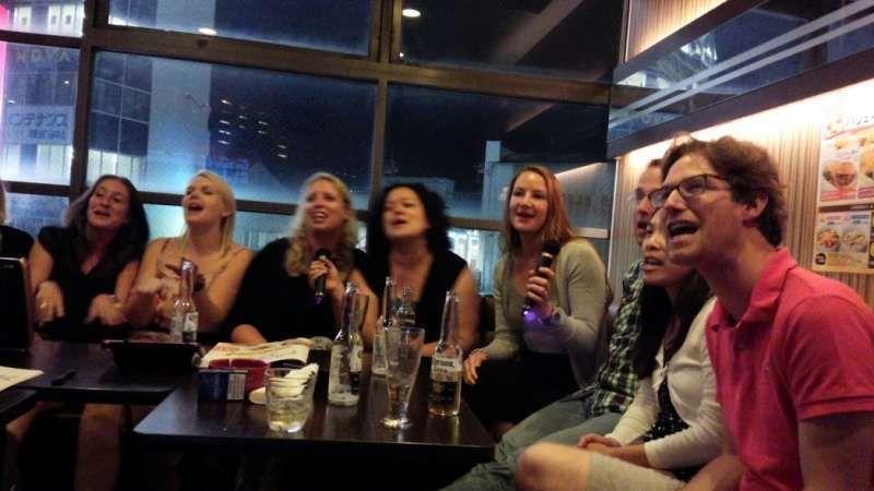 Singing girls in Karaoke bar in Kurashiki in 2016.