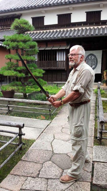 Having a real Japanese sward in Kurasiki in 2015.