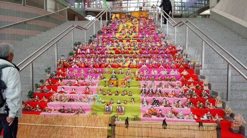 A display of Japanese traditional dolls on stairs of a city hall in Shizuyoka pref. in 2016.