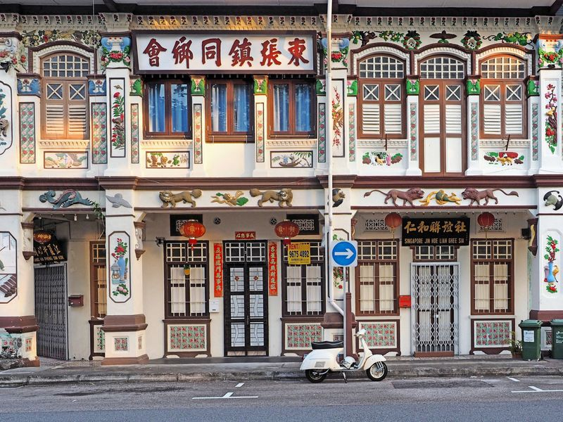 Beautiful shophouses with Chinese, Malay and European influences