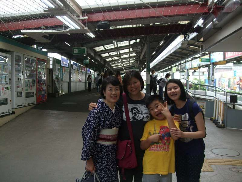 At the Enoden Kamakura station before saying good-bye