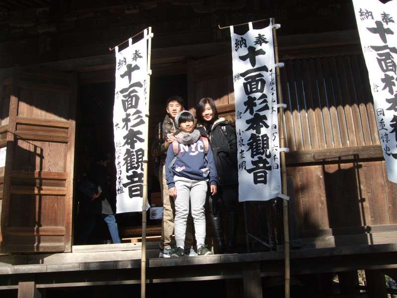 At the entrance of the main hall of Sugimoto Temple, the oldest Buddhist Temple in Kamakura