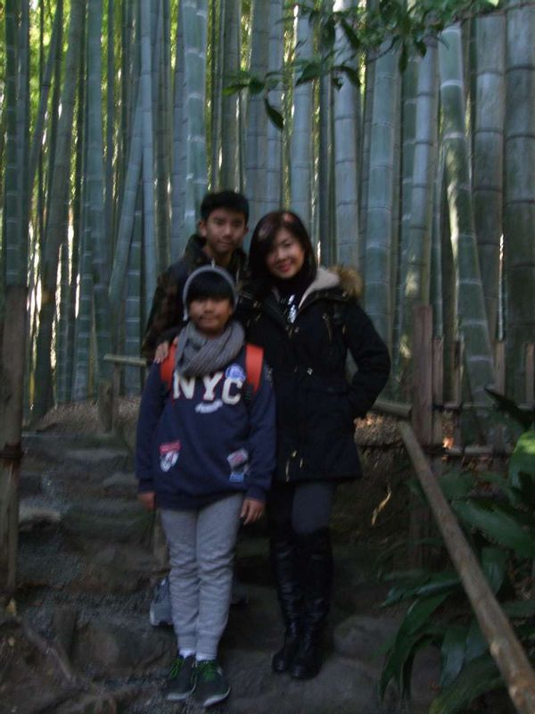 At the entrnce of the elephant bamboo grove in Hokokuji Temple, our first stop
