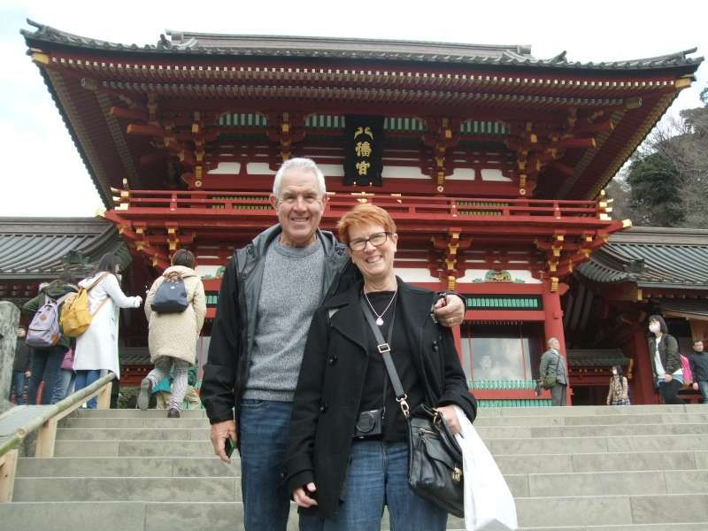 With the main hall in the back at Tsurugaoka Hachiman Shrine