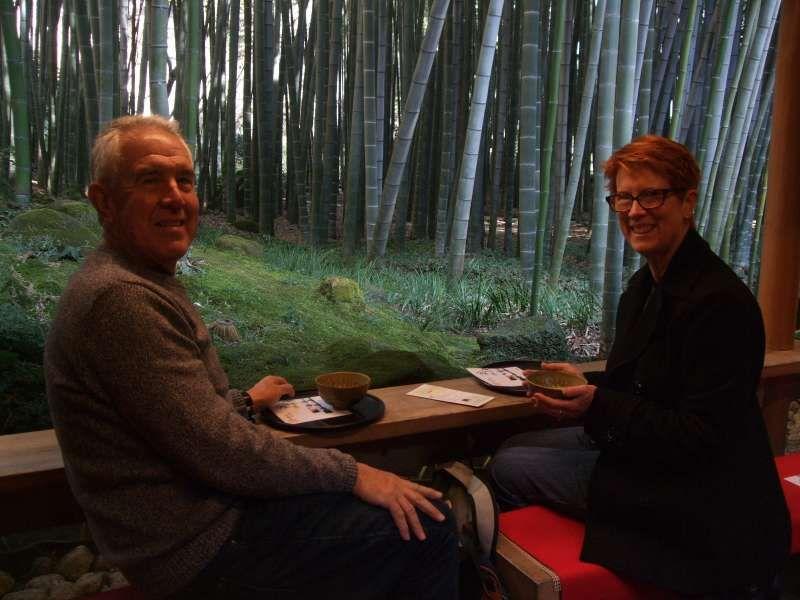 Enjoying matcha green tea in the peaceful bamboo garden